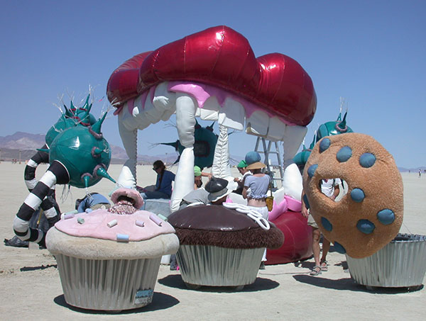 Cupcakes visit Bed in Your Head at Burning Man 2005