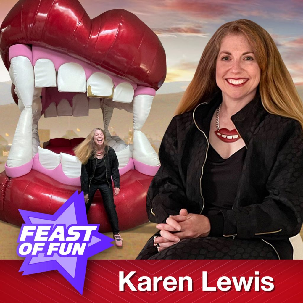 Karen Lewis as featured guest on Feast of Fun podcast talking about the mouth bed sculpture